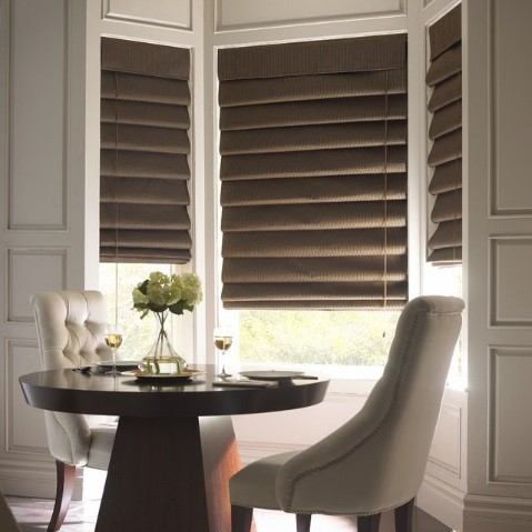Coffee Pleated Roman Shade