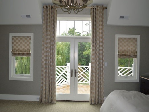Flat Checkered drapes & roman shades