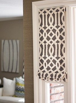 Flat Trellis Midnight Roman Shade