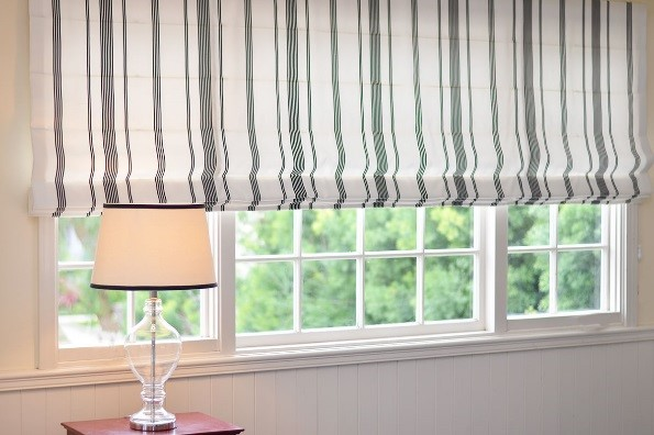 Flat large striped roman shade