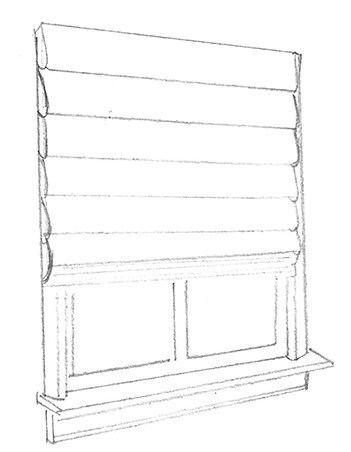 Pleated Roman Shade Redering