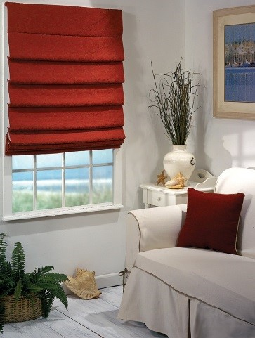 Red Pleated Roman Shade