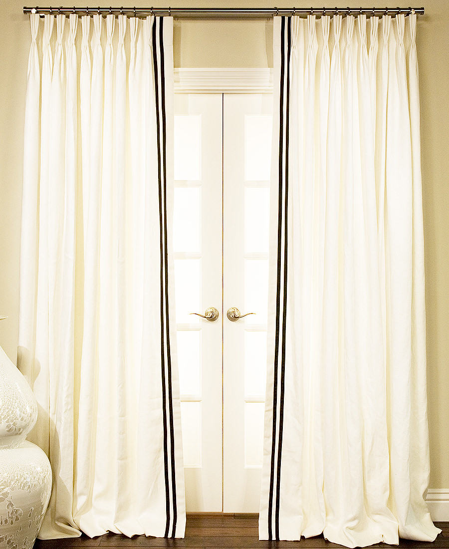 belgian linen drapes with ribbon