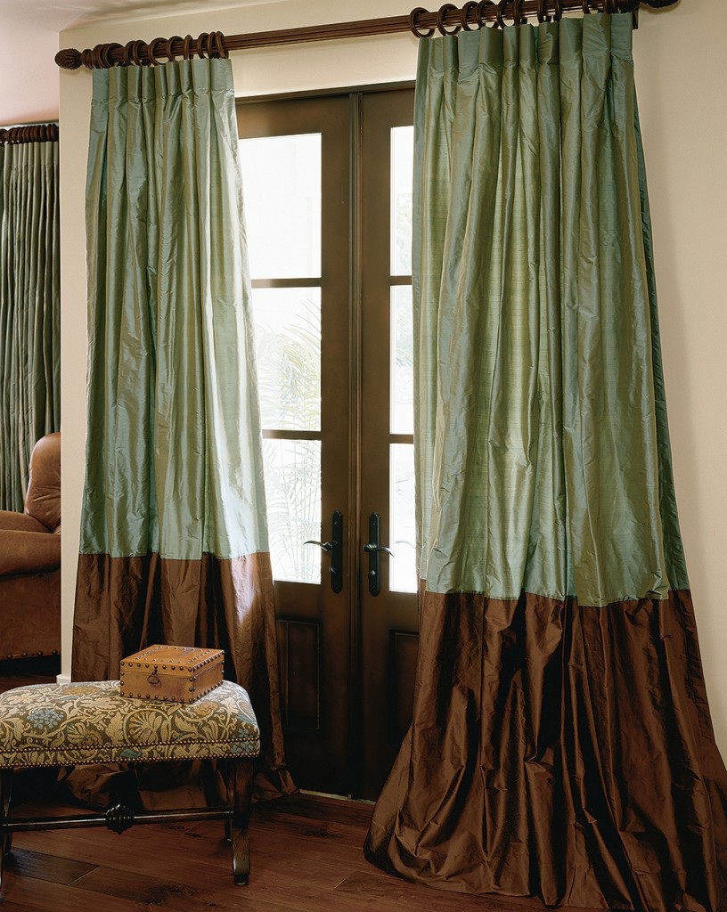 green silk drapes