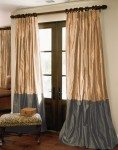 Bordered Silk Drapes in Cashmere and Graphite Silk
