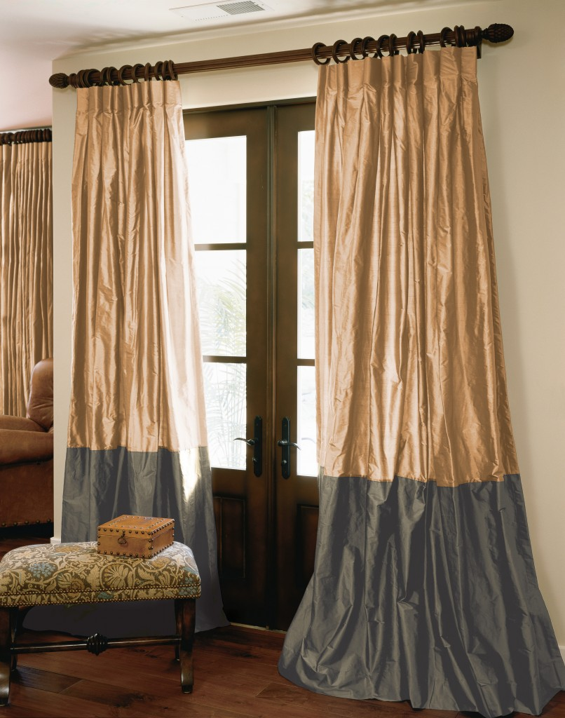Dupioni Bordered Silk Drapes in Cashmere and Graphite