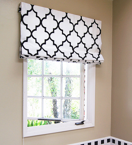 Roman Shades are Contemporary Window Treatments suitable for Kitchens and Bathrooms