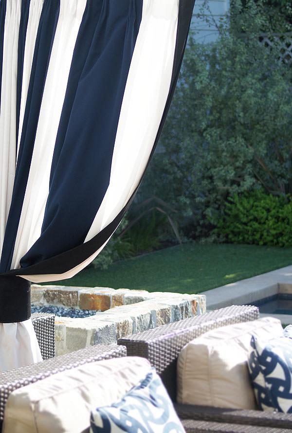Custom Striped Outdoor Drapes