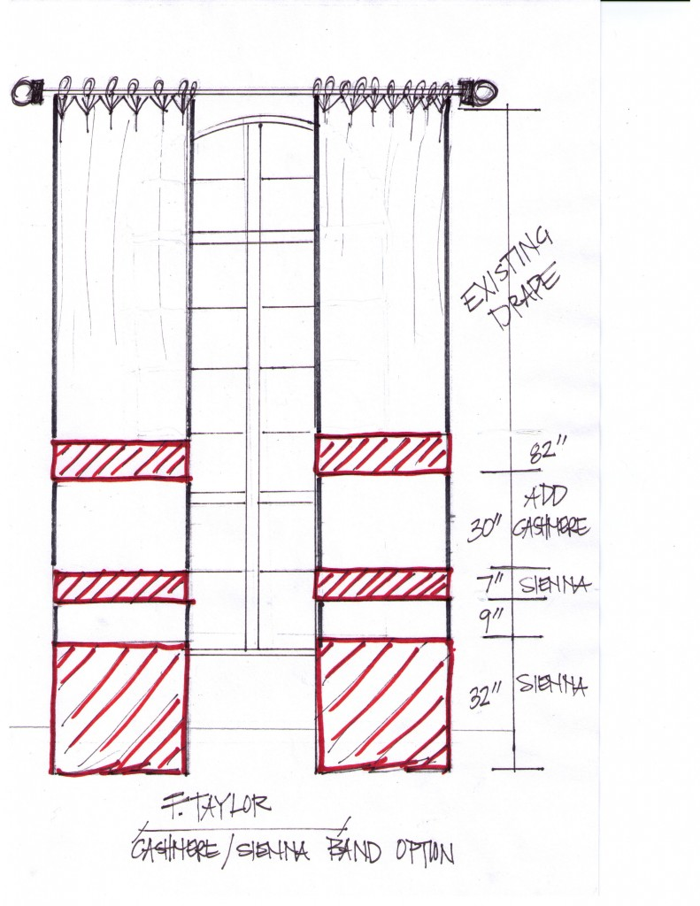Custom Drapery Banded Design Sketch by DrapeStyle
