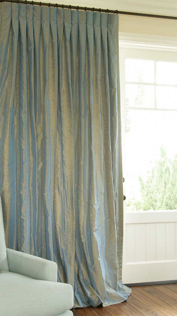 Blue Embroidered Silk Drapes