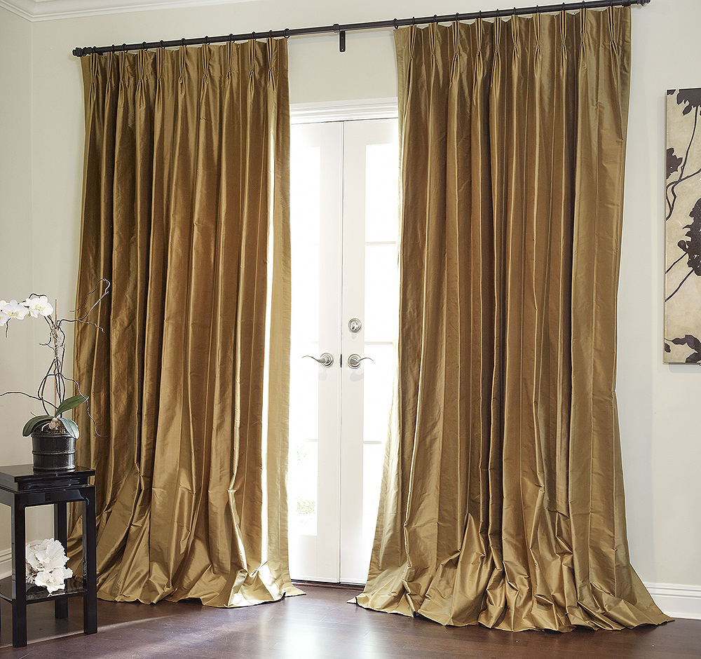 silk living room drapes that puddle