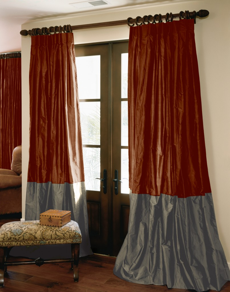 Bordered Silk Drapes in Gothic Red and Graphite