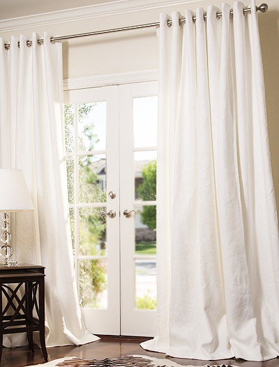 custom grommet drapes in linen