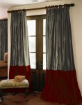 Custom Silk Drapes in Pewter and Gothic Red