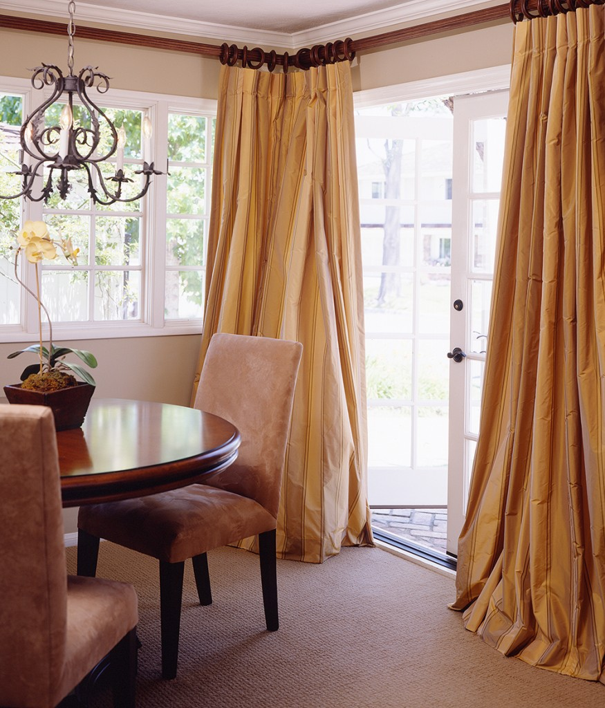 Living Room Drapes in Silk that Puddle Gracefully
