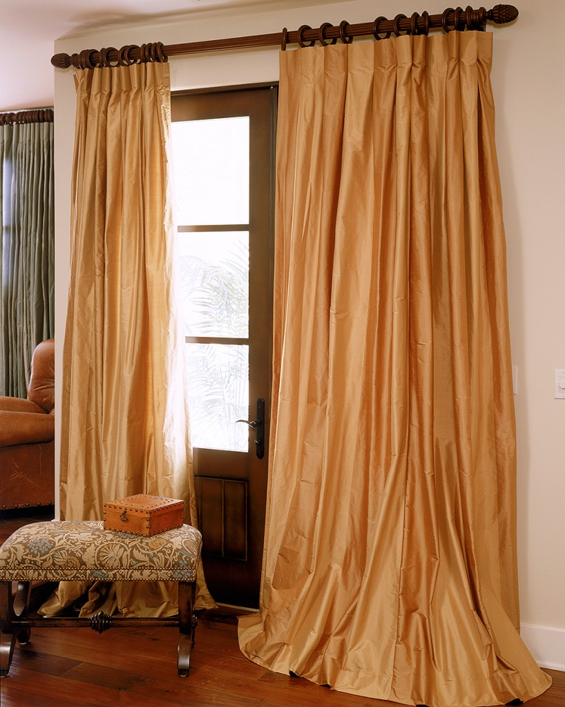 wide stripe silk drapes