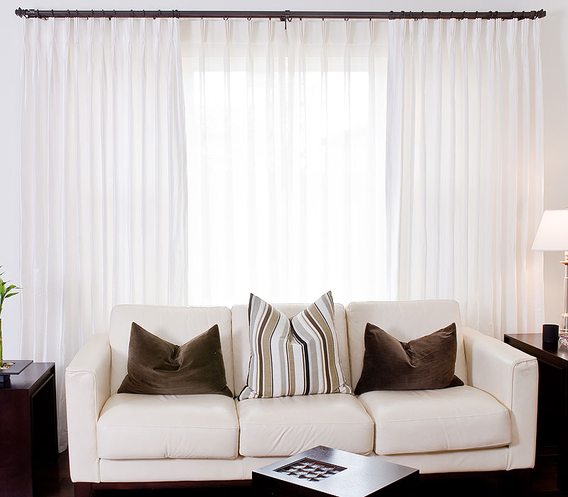 white french pleated silk drapes
