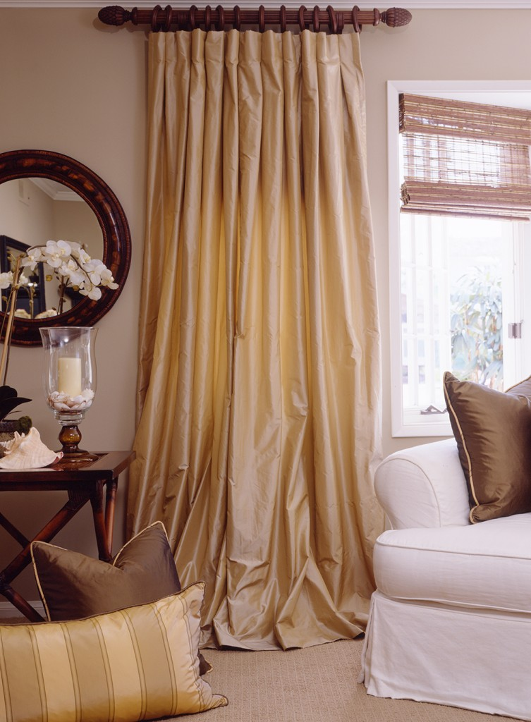 yellow silk drapes